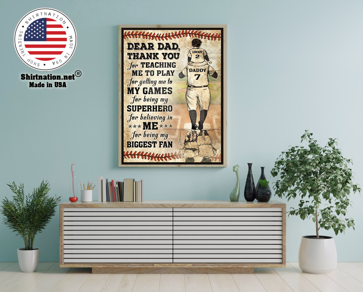 Baseball Dear dad thank you for teaching me to play for getting me to my games custom poster 12