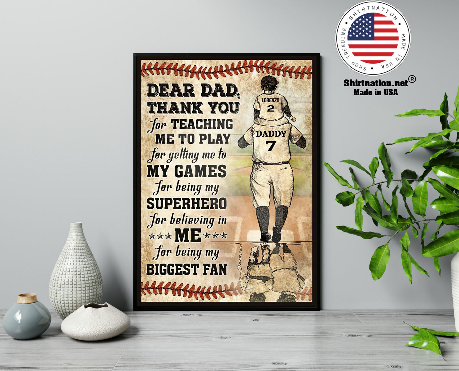 Baseball Dear dad thank you for teaching me to play for getting me to my games custom poster 13