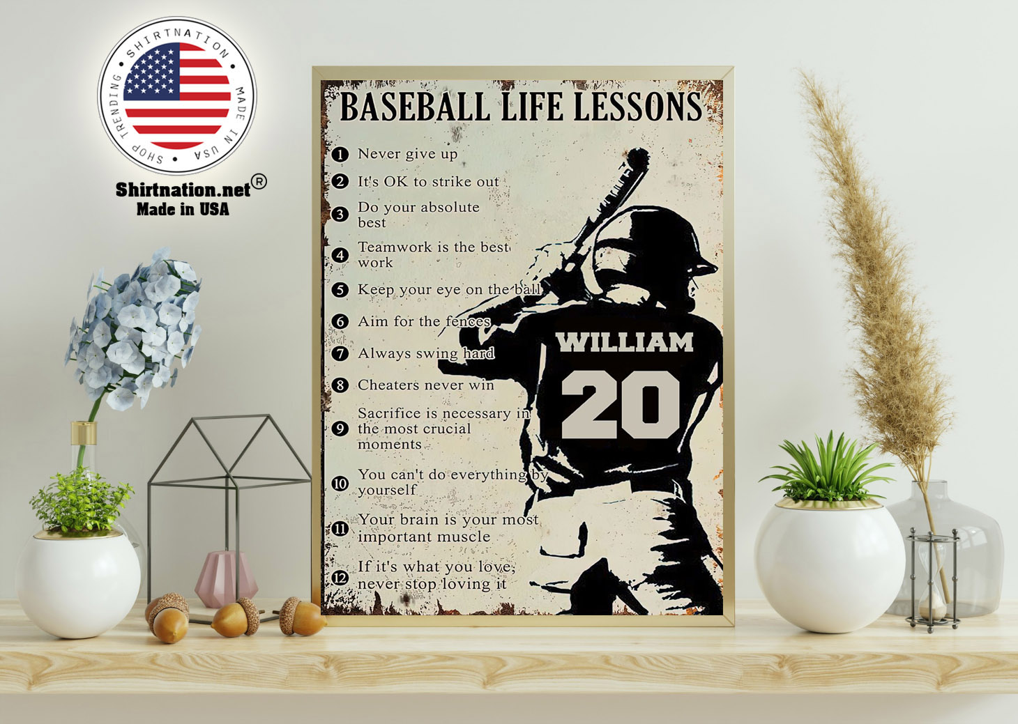 Baseball life lessons never give up its ok to strike out custom name number poster 11