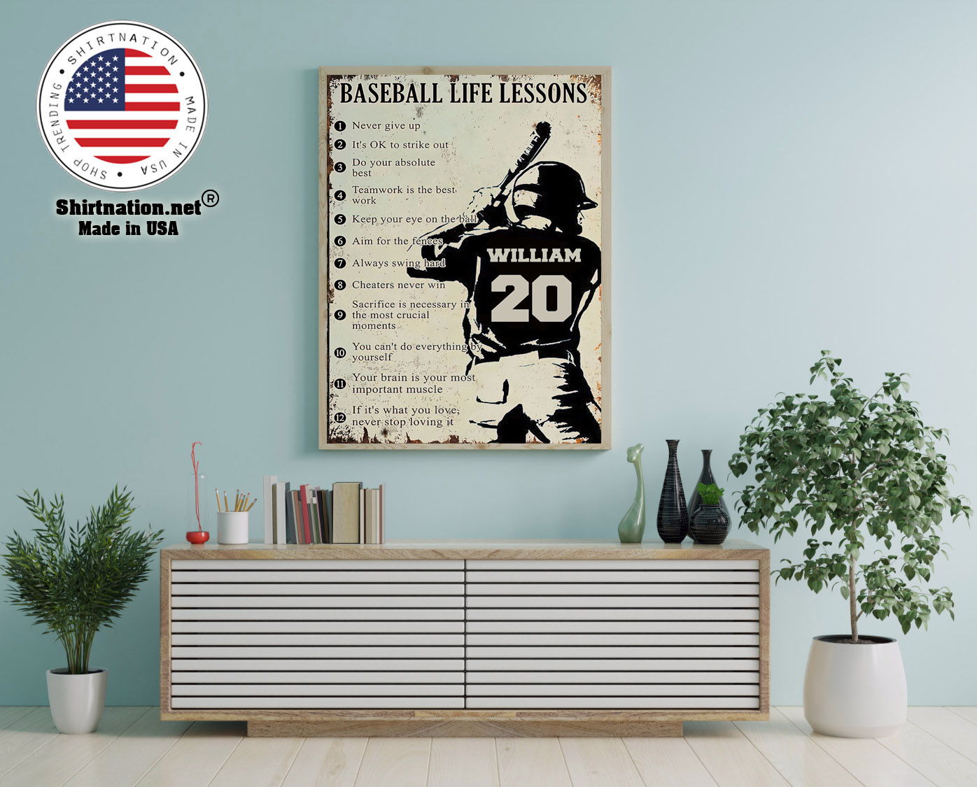 Baseball life lessons never give up its ok to strike out custom name number poster 12