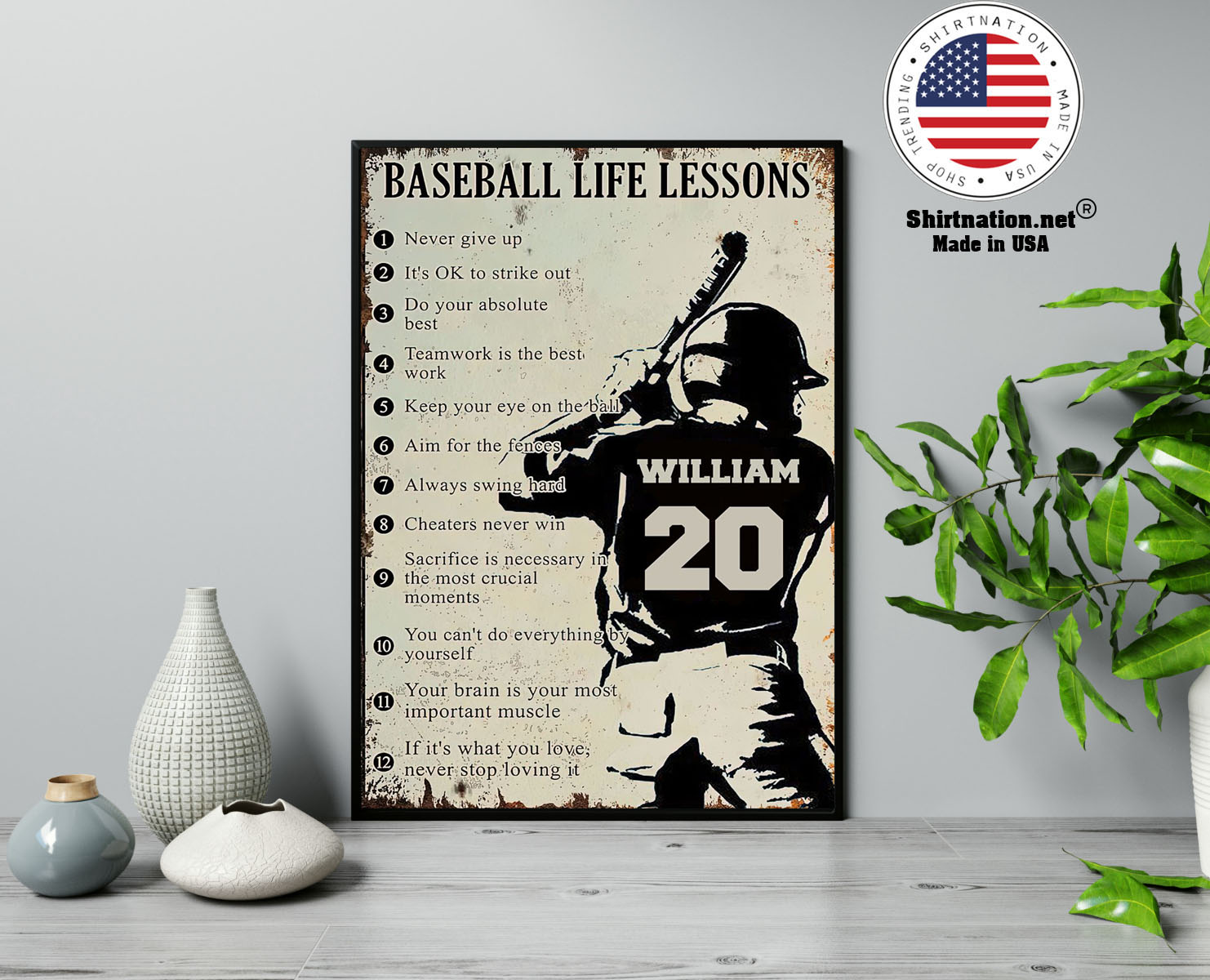 Baseball life lessons never give up its ok to strike out custom name number poster 13