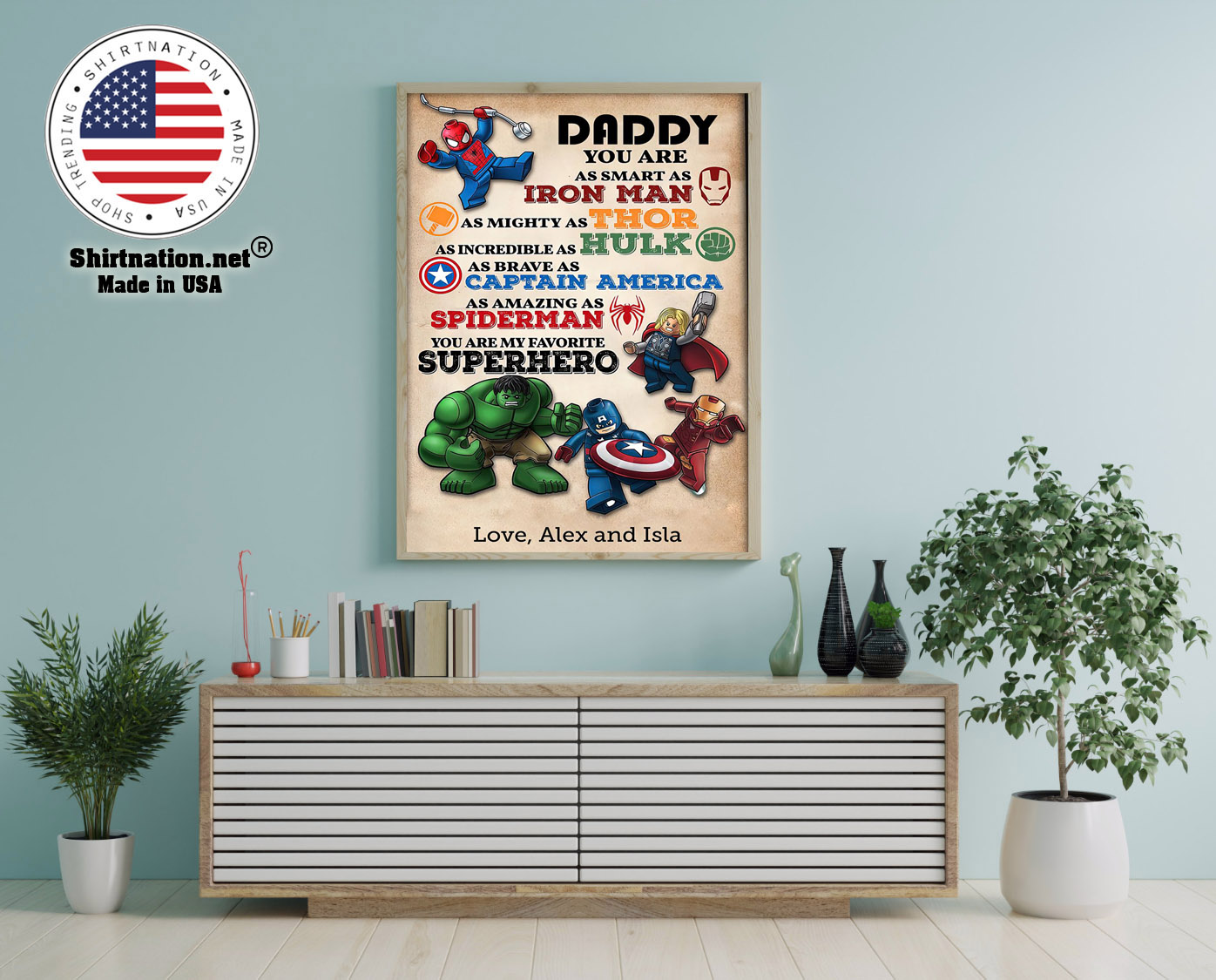 Daddy you are as smart an I ron man as mighty as thor custom name poster 12