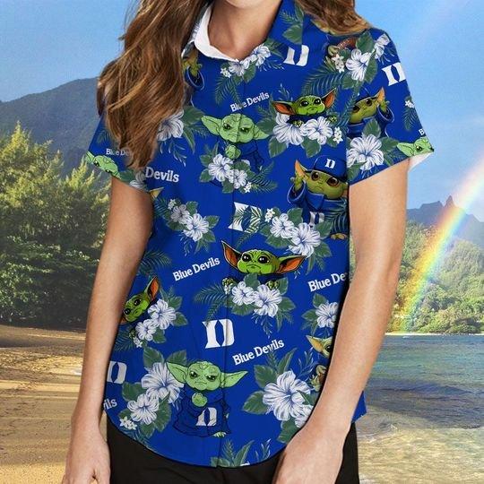 Duke Blue Devils And Yoda Hawaiian And Beach Short 2