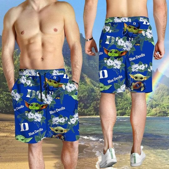 Duke Blue Devils And Yoda Hawaiian And Beach Short 3