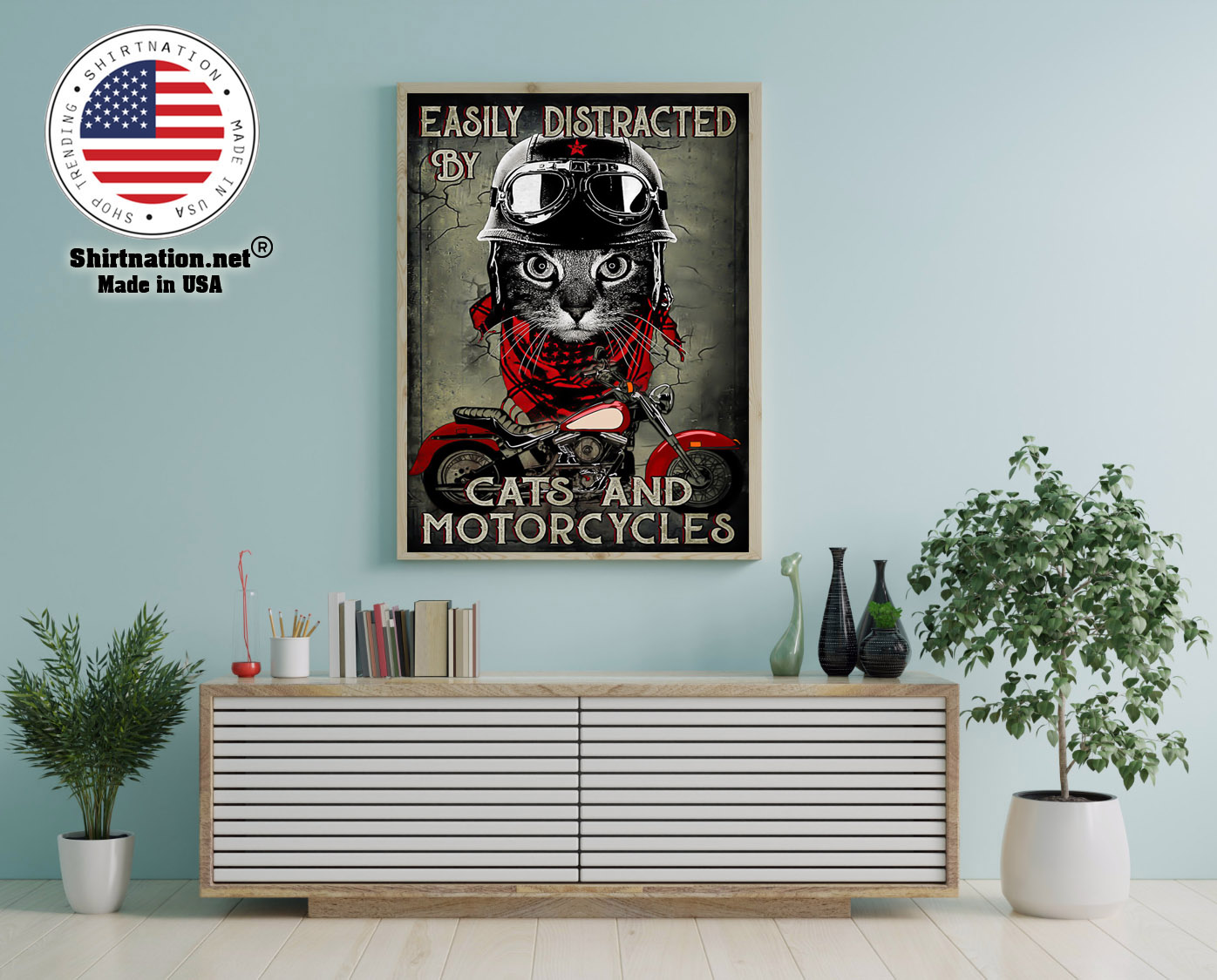 Easily distracted by cats and motorcycles poster 12 1