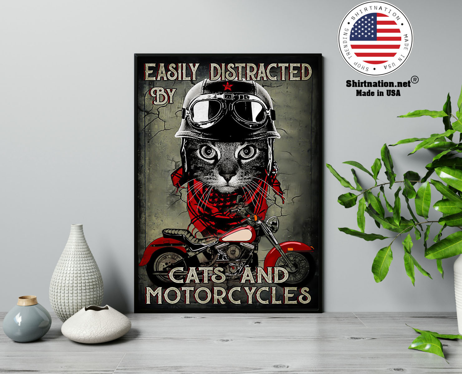 Easily distracted by cats and motorcycles poster 13 1