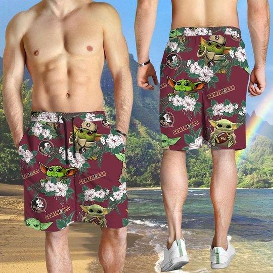 Florida State Seminoles And Yoda Hawaiian And Beach Short3
