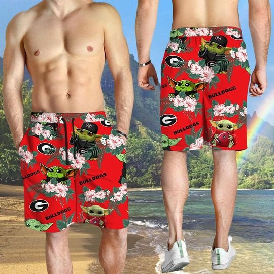 Georgia Bulldogs Yoda Hawaiian And Beach Short3