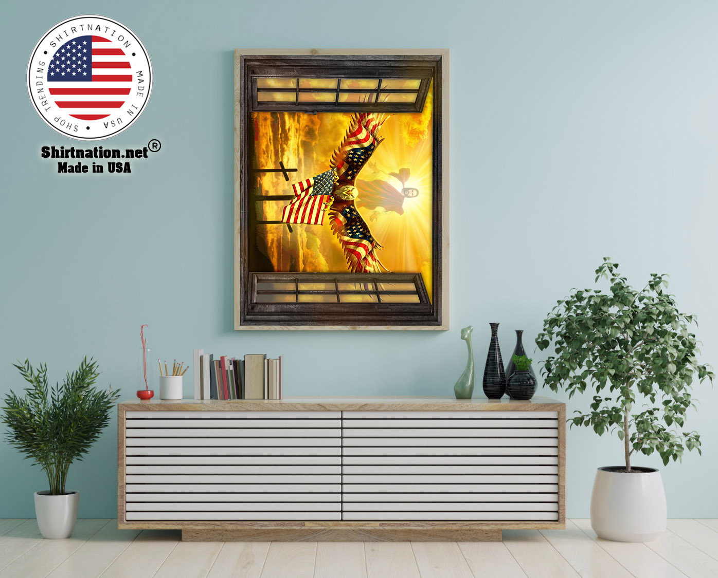 Jesus American eagle in the sky have faith poster 12