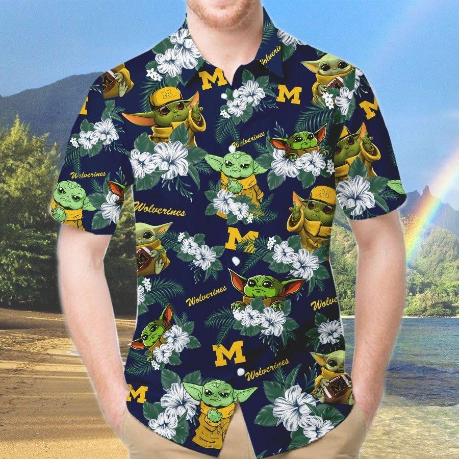 Michigan Wolverines And Yoda Hawaiian And Beach Short