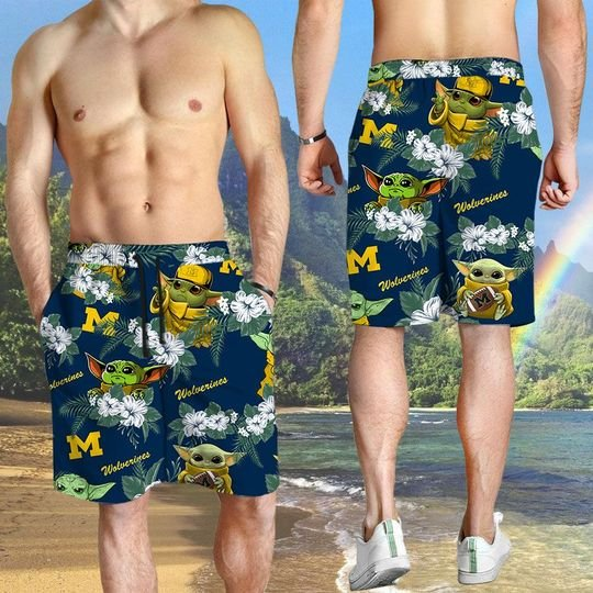 Michigan Wolverines And Yoda Hawaiian And Beach Short3