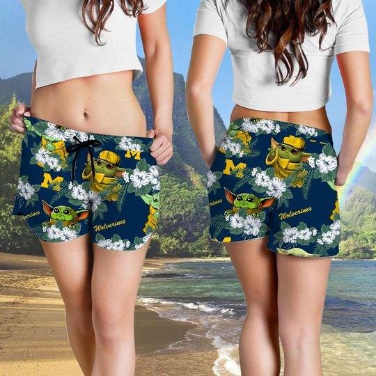Michigan Wolverines And Yoda Hawaiian And Beach Short4