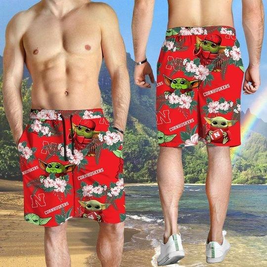 Nebraska Cornhuskers And Yoda Hawaiian And Beach Short3