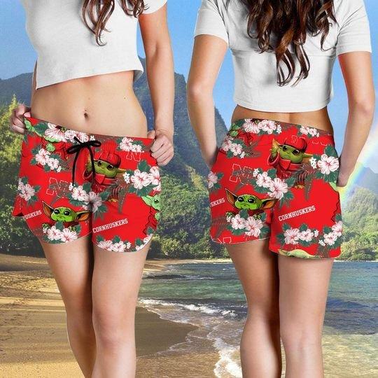 Nebraska Cornhuskers And Yoda Hawaiian And Beach Short4