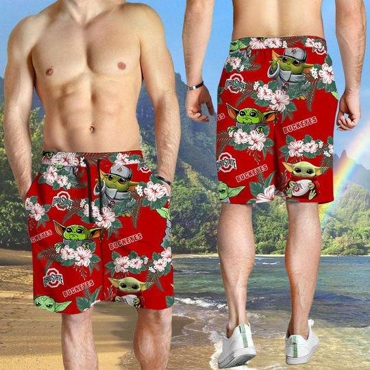 Ohio State Buckeyes And Yoda Hawaiian And Beach Short 2