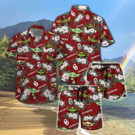 Oklahoma Sooners And Yoda Hawaiian And Beach Short1 1