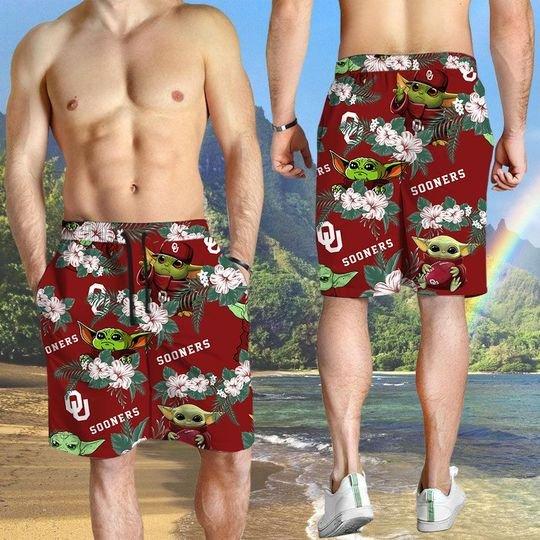 Oklahoma Sooners And Yoda Hawaiian And Beach Short3
