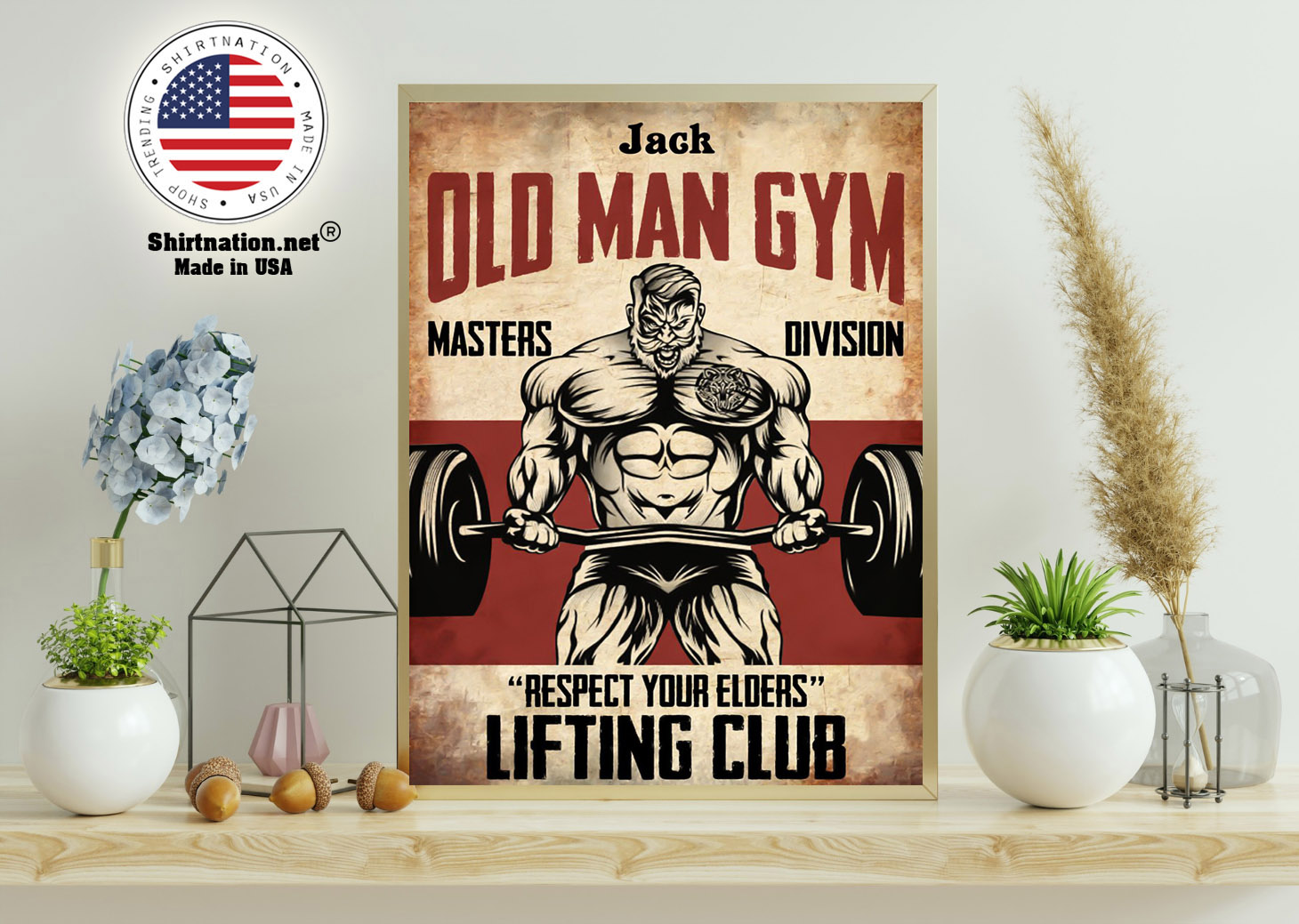 Old man gym masters division respect your elders lifting club poster 11