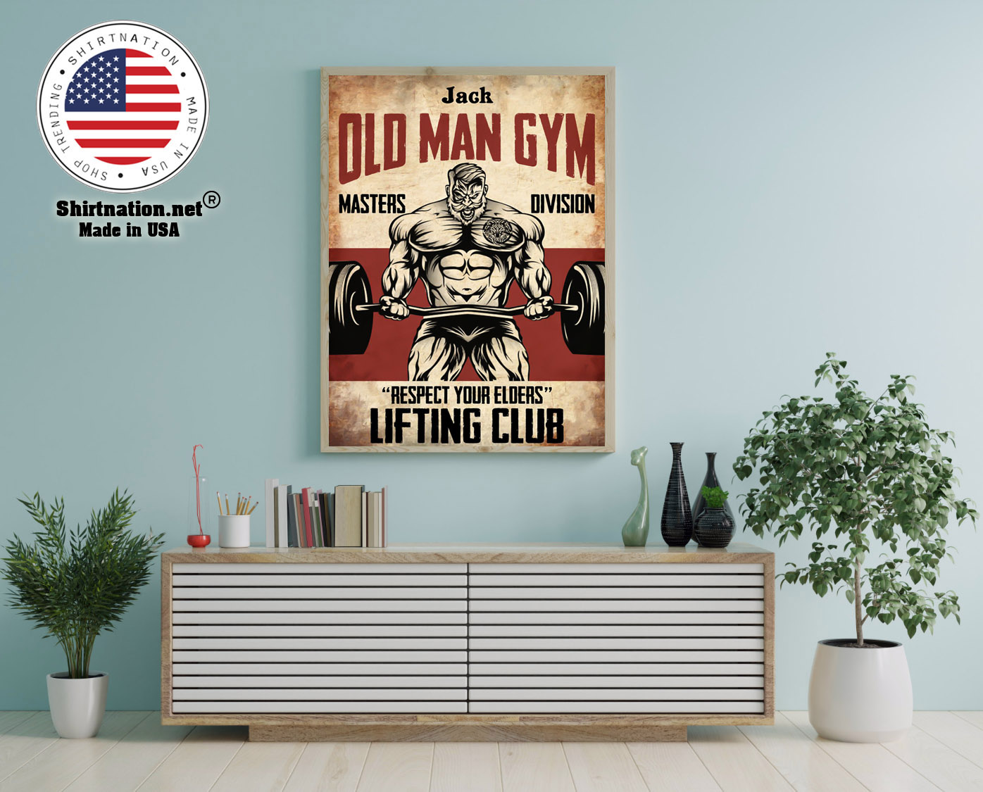 Old man gym masters division respect your elders lifting club poster 12