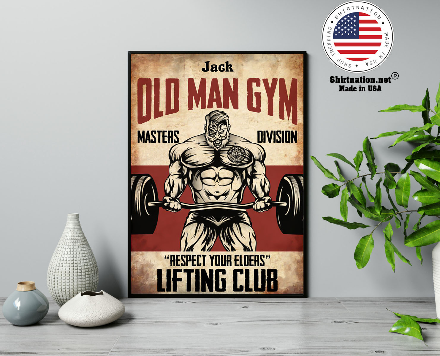 Old man gym masters division respect your elders lifting club poster 13