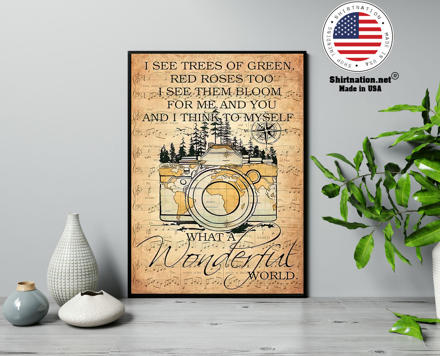 Photography I see trees of green red roses too I see them bloom for me and you poster 13