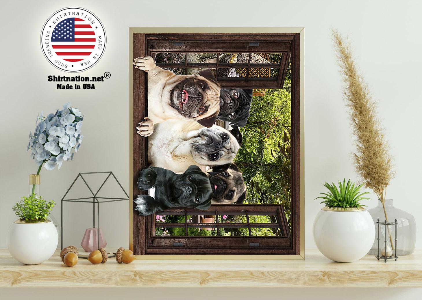 Pugs window 3d poster 11