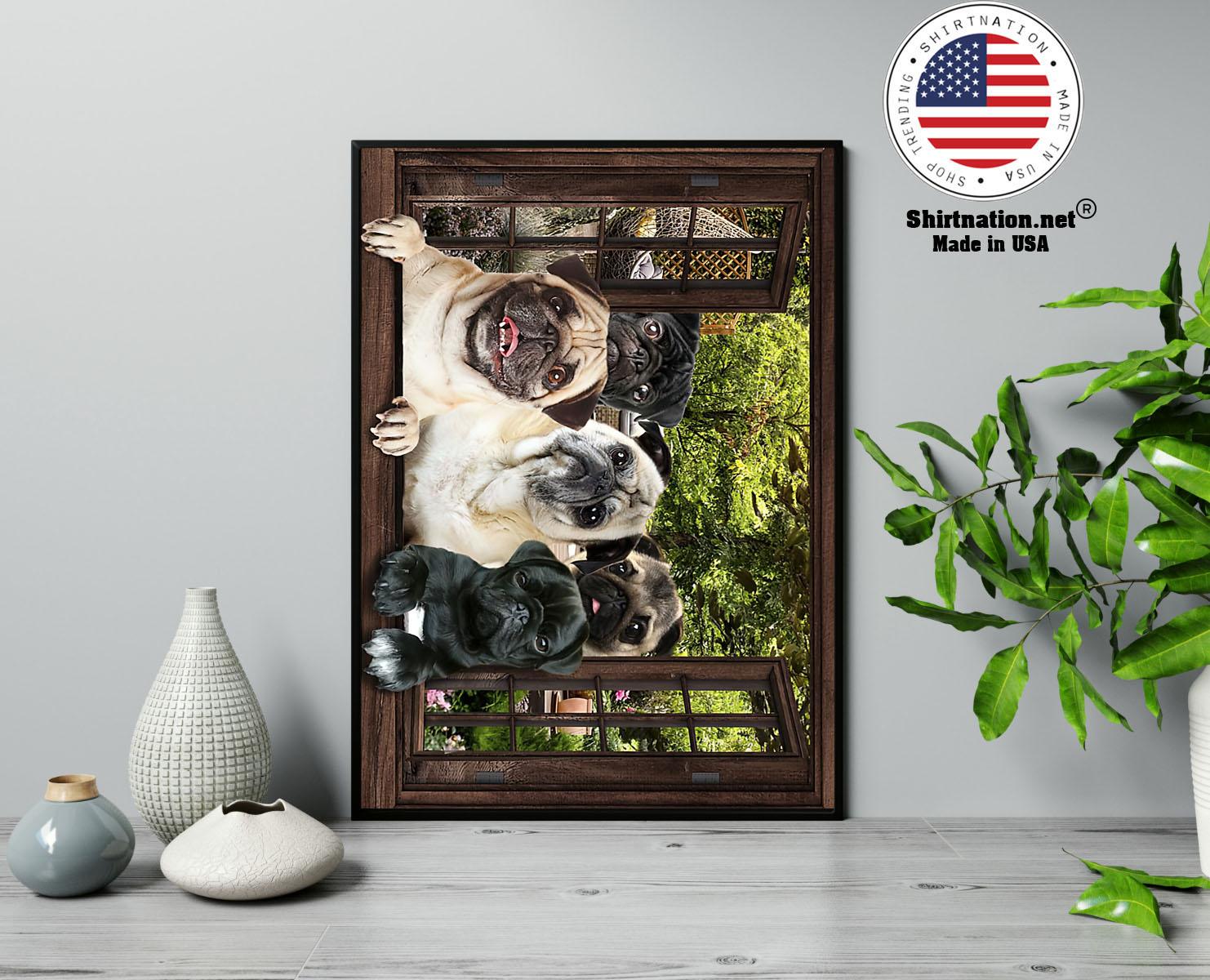 Pugs window 3d poster 13