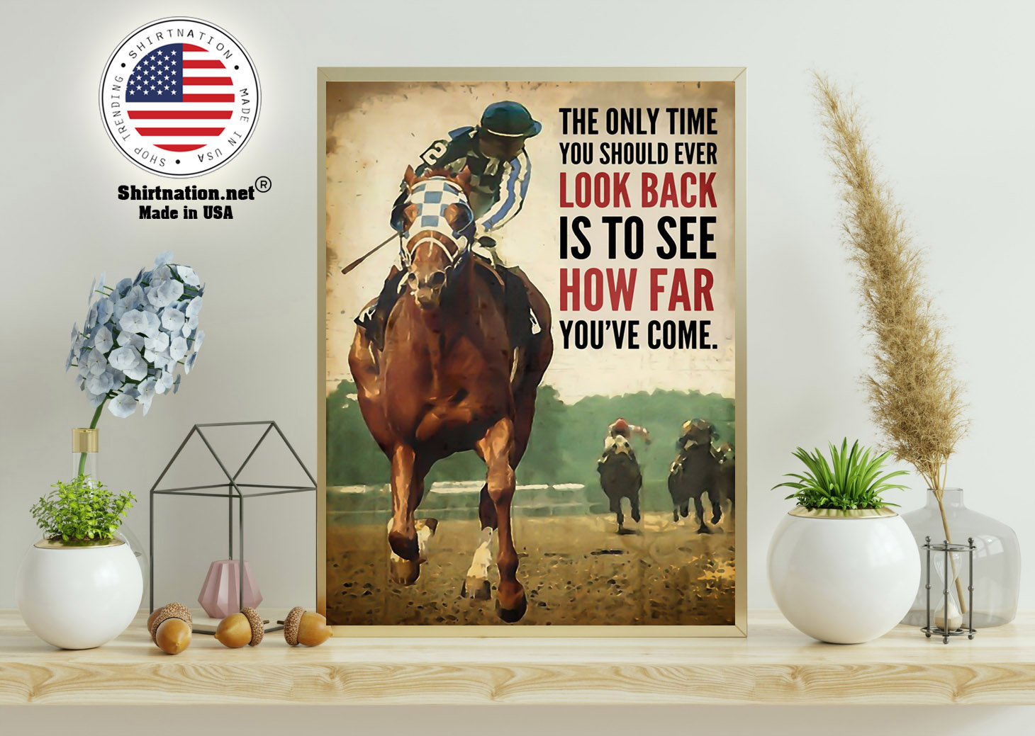 Racing horse The only time you should ever look back is to see how far youve come poster 15