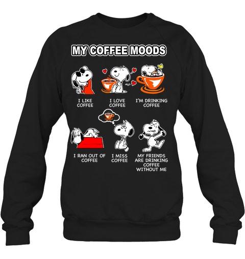 Snoopy doo My coffee moods I like coffee I love coffee shirt 12