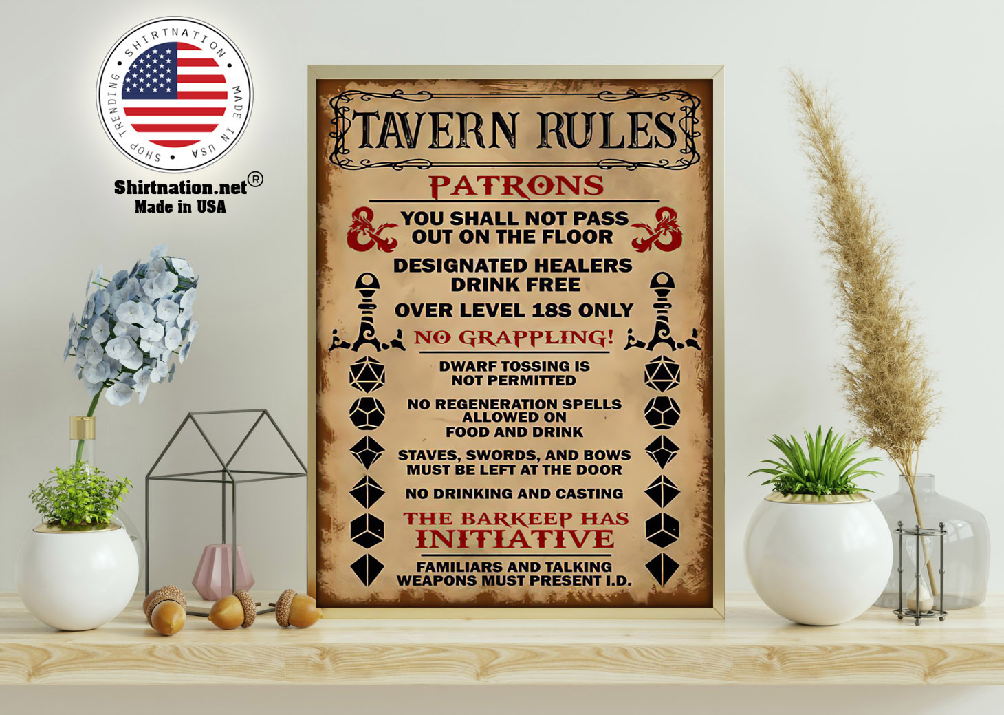 Tavern rules patrons you shall not pass out on the floor poster 11