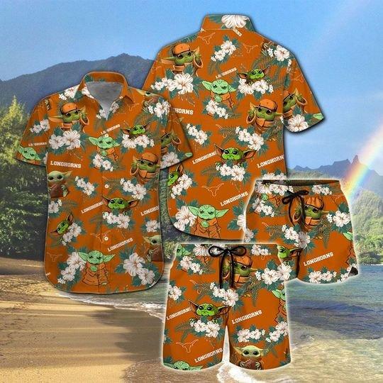 Texas Longhorns And Yoda Hawaiian And Beach Short1