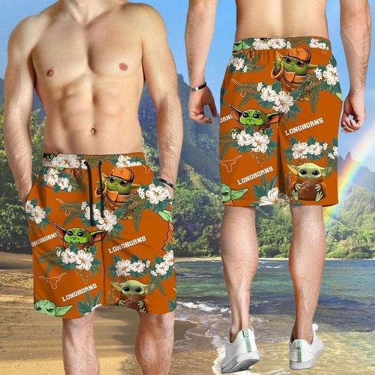 Texas Longhorns And Yoda Hawaiian And Beach Short3