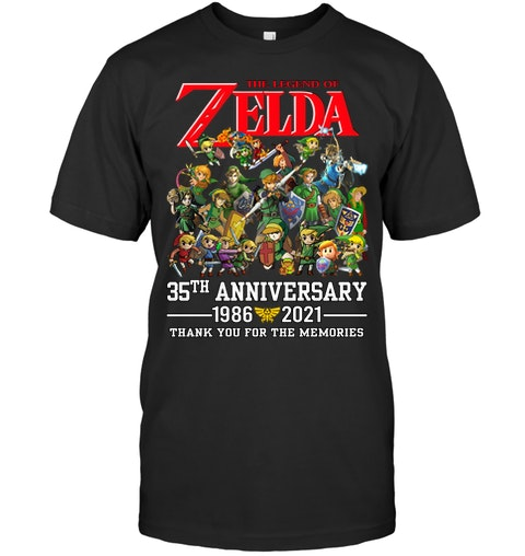 Zelda 35th anniversary 1986 2021 thank you for the memories shirt as