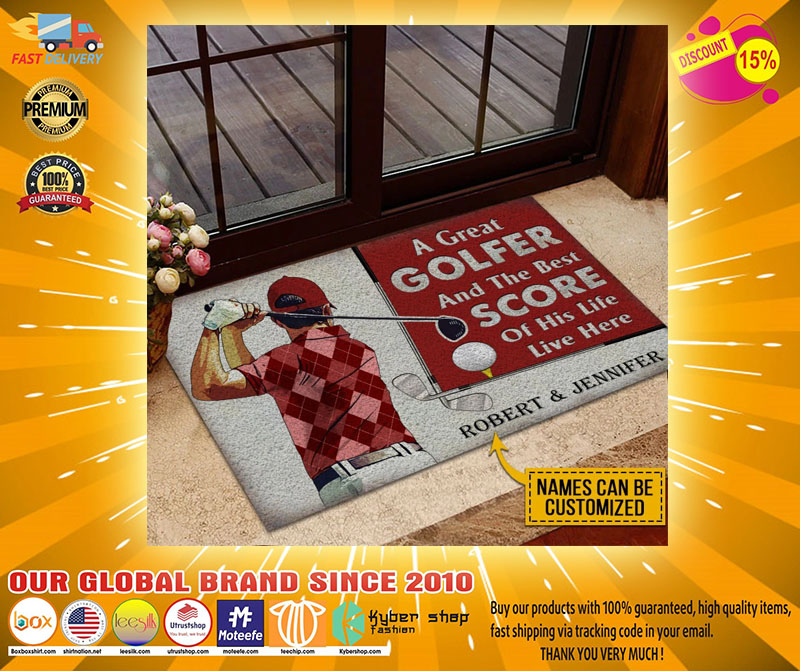 A great golfer and the best score custom name doormat4