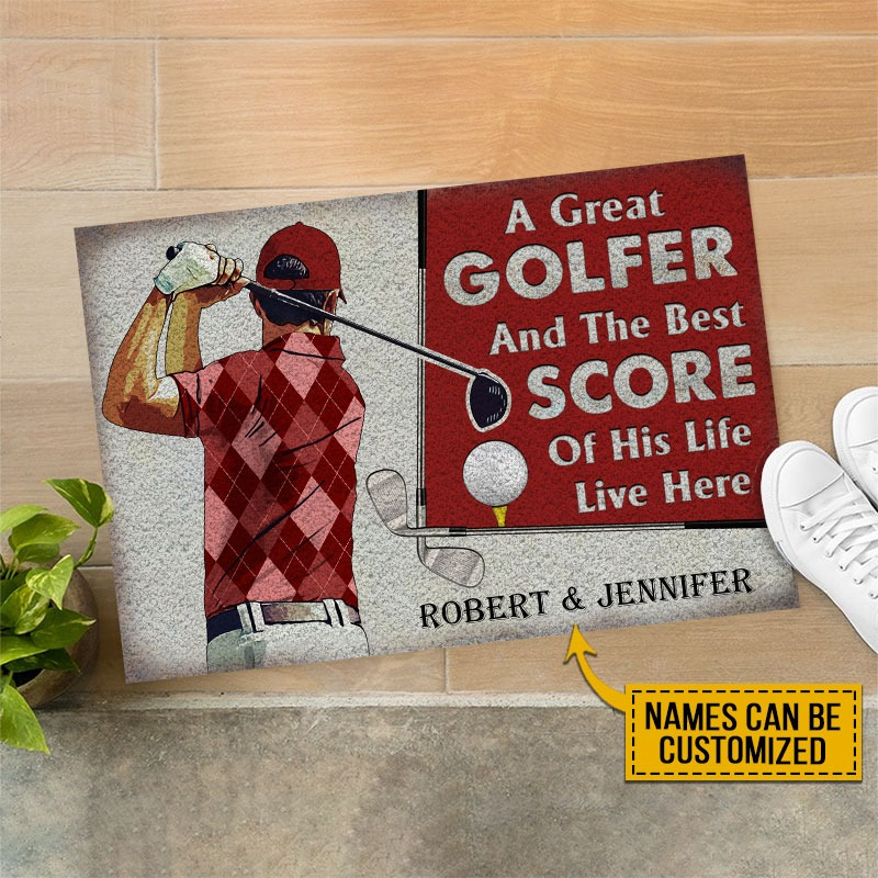 A great golfer and the best score custom name doormat3