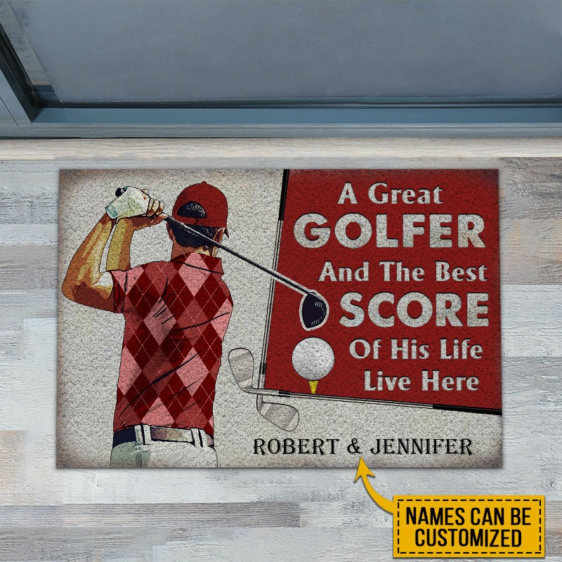 A great golfer and the best score custom name doormat2
