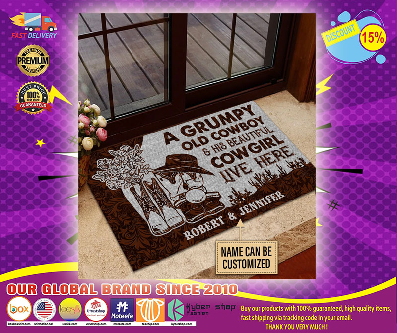 A grumpy old cowboy and his beautiful cowgirl live here custom name doormat4
