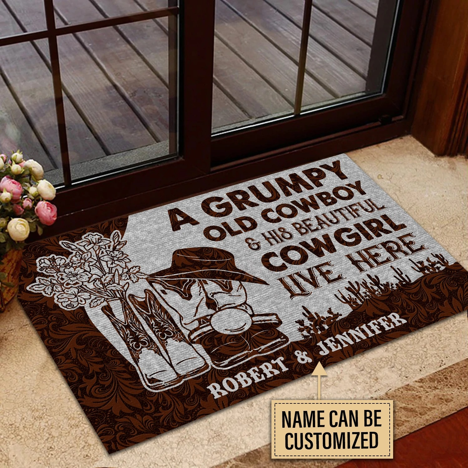 A grumpy old cowboy and his beautiful cowgirl live here custom name doormat3