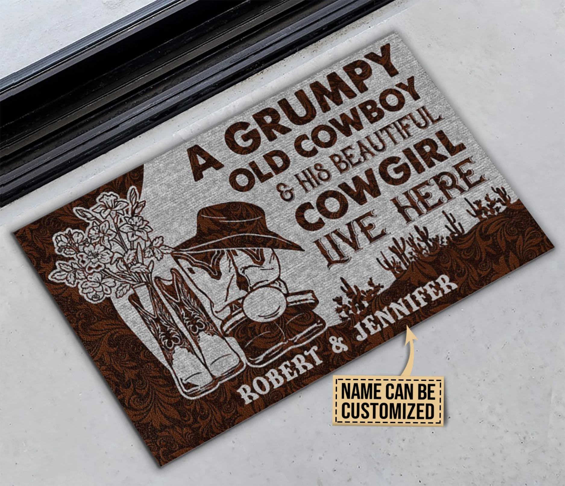 A grumpy old cowboy and his beautiful cowgirl live here custom name doormat2