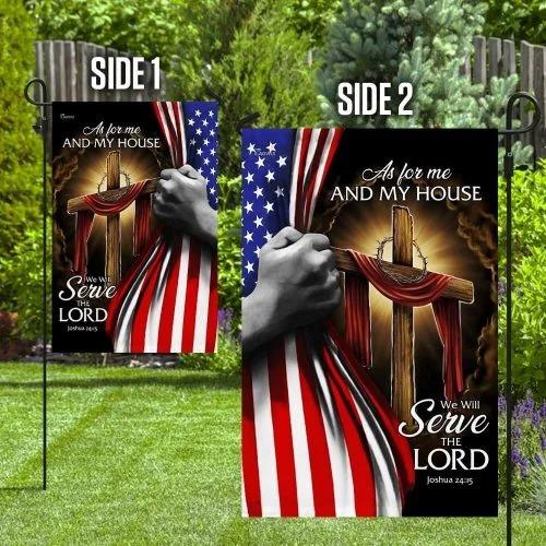 American Faith cross as for me and my house flag4