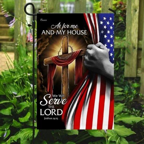 American Faith cross as for me and my house flag3