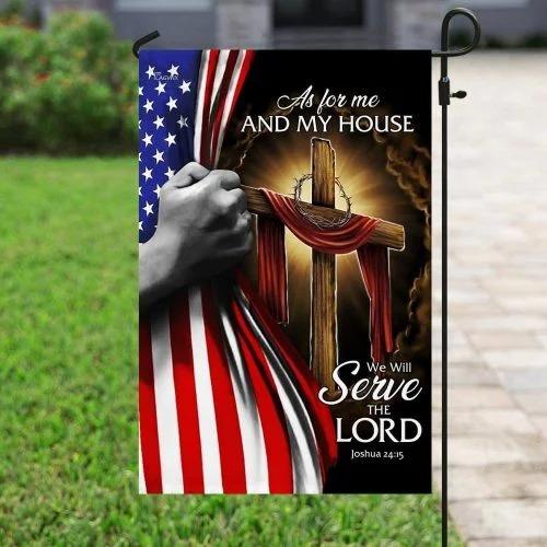 American Faith cross as for me and my house flag2