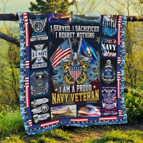 American flag I am a proud Navy veteran quilt bedding set4