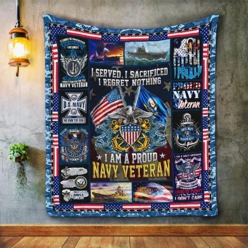 American flag I am a proud Navy veteran quilt bedding set3