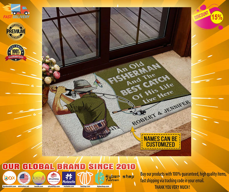 An old fisherman and the best catch custom name doormat4