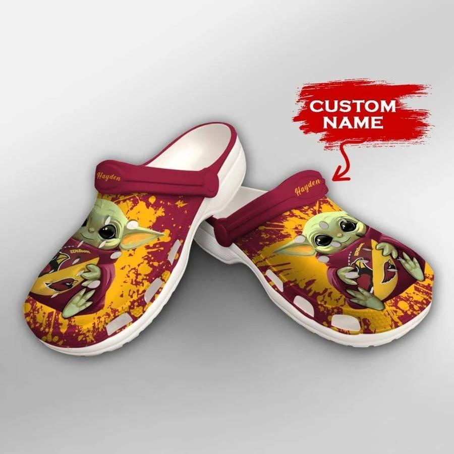 Baby Yoda Arizona Cardinals custom name crocs crocband clog2