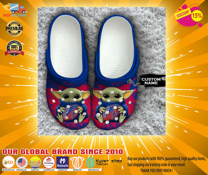 Baby Yoda Buffalo Bills custom name crocs crocband clog4