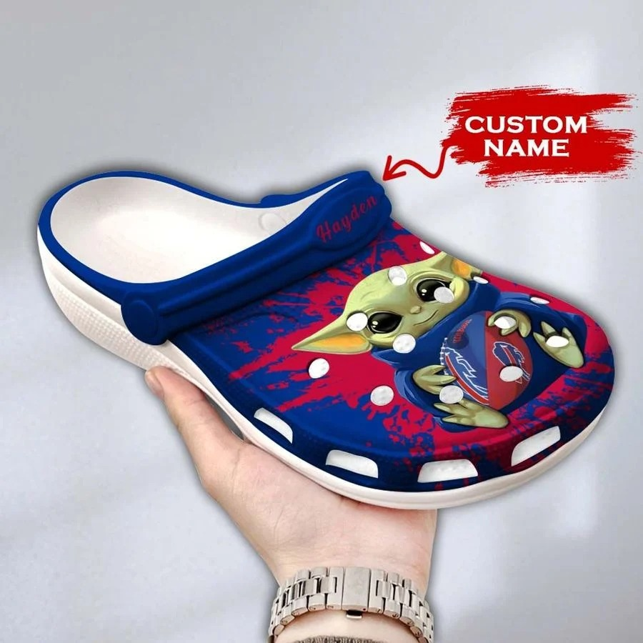 Baby Yoda Buffalo Bills custom name crocs crocband clog3