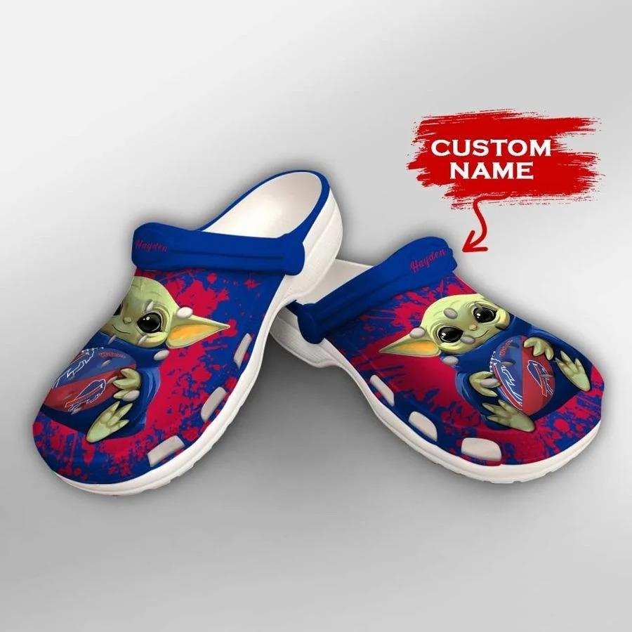 Baby Yoda Buffalo Bills custom name crocs crocband clog2