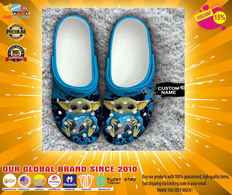 Baby Yoda Carolina Panthers custom name crocs crocband clog4